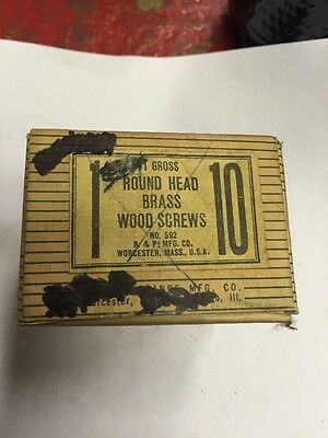 Vintage #10 X 1 Inch ROUND Head BRASS SLOTTED Wood Screws 144 per box-USA