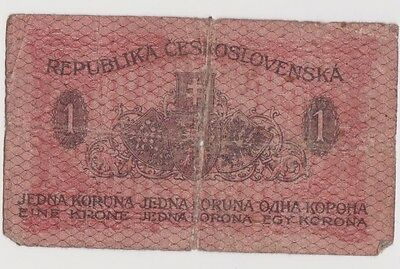 Old Czekhoslovakia Paper Money. 1 Koruna. Year 1919