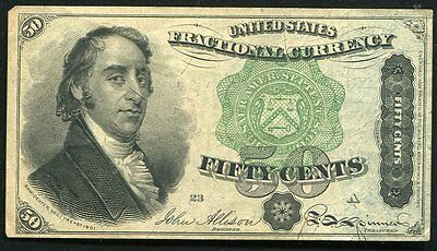 """50 Fifty Cents Fourth Issue Fractional Currency Note """"Dexter"""" Extremely Fine"""