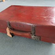 Vintage 1930s Leather Suitcase / Coffee table - GCL monogram
