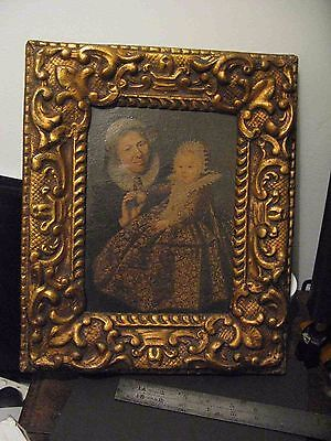 Antique,Victorian, Portrait, Mother & Child, Gilt Frame, glazed, Oil