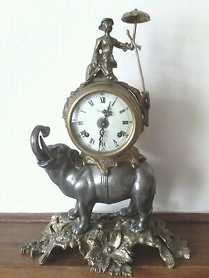 An Italian imperial elephant mantle clock  by BREVETTATO in excellent condition.
