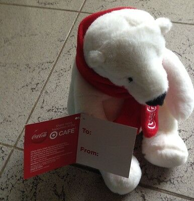 COCA COLA Plush White Polar Bear Red Scarf 2012 Promotional NWT