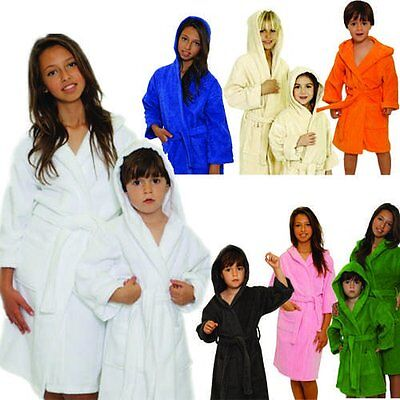 Boys Girls Mirko Terry Cloth Hooded Bathrobe Spa Quality Kids Robe Unisex Robe