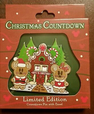 Disney Gingerbread Countdown to Christmas Pin Mickey Minnie LE 2000