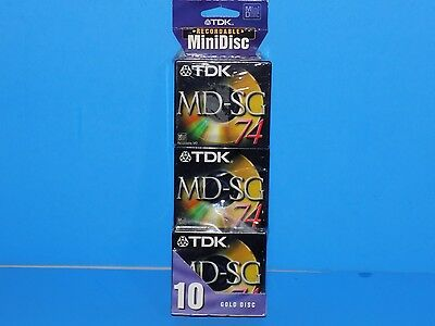 TDK MD-SG74 GOLD MiniDisc NEW Factory Sealed 10 Disc Pack