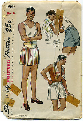 Vintage SEWING PATTERN Simplicity 1950's MEN'S BOXER SHORTS 2 Styles FRONT PLEAT