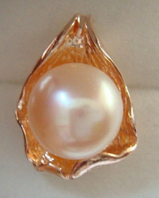 NATURAL 12 MM WHITE PEARL PENDANT NECKLACE ~ ROSE GOLD over 925 STERLING SILVER
