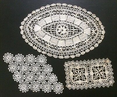 Antique Collection Of Handmade Lace Doilies TAtted, Unusual And Typically Framed