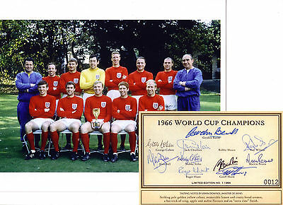 England 1966 SIGNED x10 Ball Hurst Peters Charlton Banks Stiles Hunt Bobby 66
