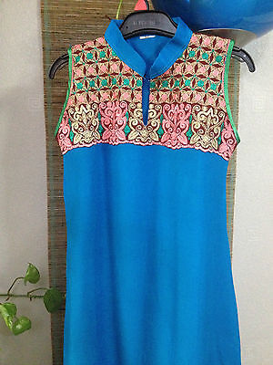 Girl Dress Pakistani Indian Children Frock Anarkali Turquoie Embroidery 7/8 Year