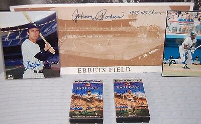 Baseball Memorabilia Lot of Autographed Items - PBS VHS, Poster, Photographs