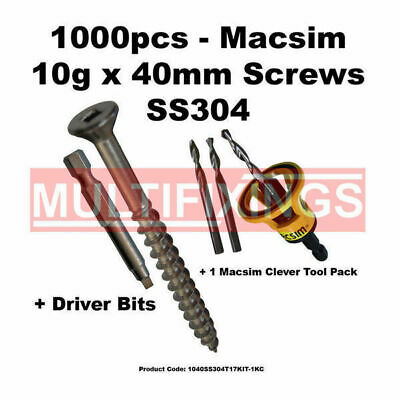 1000pcs - 10g x 40mm Stainless Steel Type 17 Decking Screws + Clever Tool