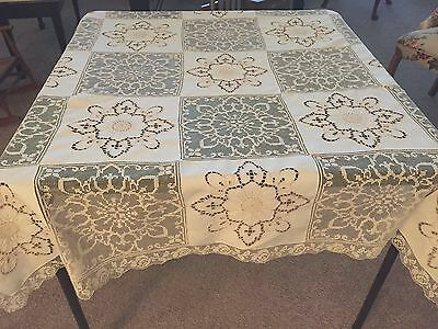 Vintage Army/Navy Tablecloth, Off White Linen, Embroidery Cutwork, Filet Lace