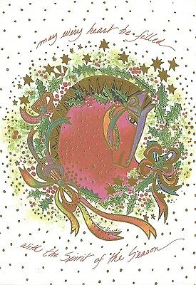 Vintage Laurel Burch THE HOLLY HORSE Holiday Greeting Card