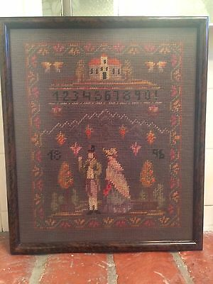 1896 Antique Needlepoint Picture Sampler  Lady & Gentleman and Numbers Framed