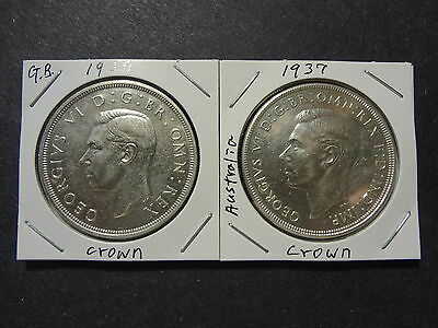 Great Britain 1937 1 Crown + Australia 1937 1 Crown Combo, Select To Choice Unc!