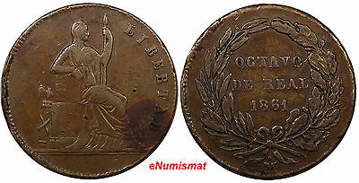 Mexico Copper 1861 1/8 Real, Octavo Real Federal Issue VF KM# 334