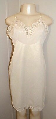 Vintage Vanity Fair Lacey Satin Nylon Long Full Slip-Size 36-Bust To 38""