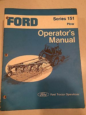 Ford 151 Series Plow Operator Manual Book