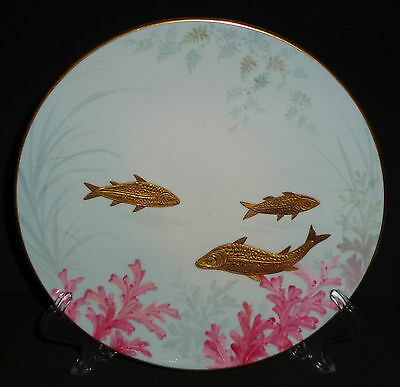 ANTIQUE PORCELAIN PLATE HAND PAINTED GOLD FISH RARE POINTONS ENGLAND 1883 19th C
