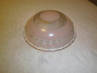 Antique light fixture glass shade Pink 3 hole mounted type