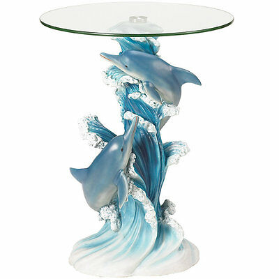 Accent Plus Dolphins Statue With Tempered Glass Table Top Accent Furniture
