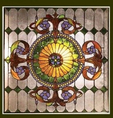 Matching PAIR Stained Cut Glass Window Panels Tiffany Style   Great Colors!
