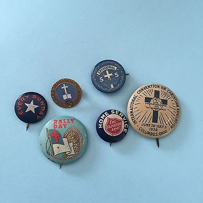 NICE  Lot of 6 RELIGIOUS Pinbacks Vintage Pins American Old Christian
