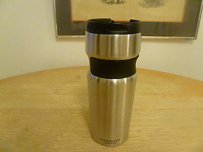 Starbucks 2008 Stainless Steel Tumbler With Black Band Grip, 16 Oz.