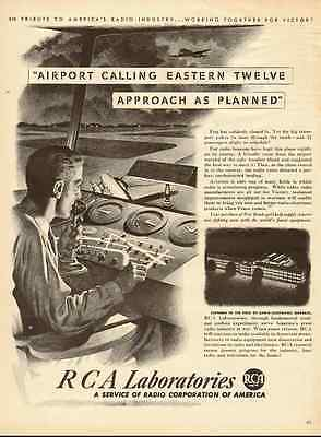 1940s vintage ad, RCA Laboratories, Air Traffic Control, great art! -122112