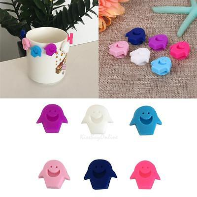 6pcs Smiling Face Rubber Suction Wine Glass Cup Label Marker Recognizer