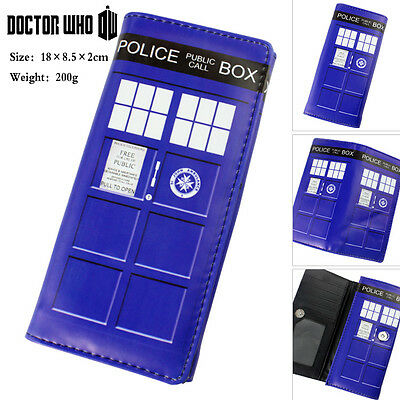Doctor Who Tardis Dr Wallet telephone booth Long Embossed Flap Clutch Purse