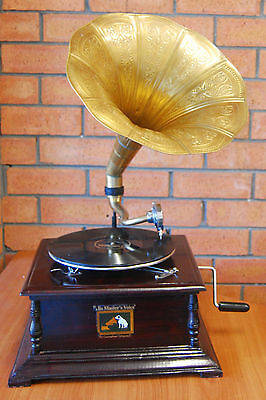 Collectable His Master Voice Wind Up Gramophone With Brass Horn
