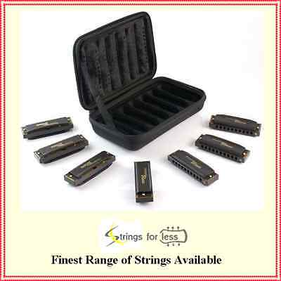 Hohner Piedmont Blues 7-Harmonica Pack + Case 7 Harps each in a different  Key