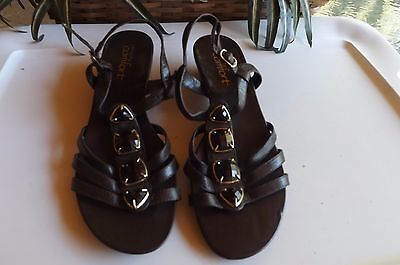 Strictly Comfort Wedge Sandals Ankle Strappy Womens Shoes Size 8.5 M