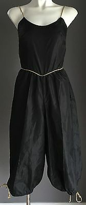 VINTAGE 1970's Black Stain Look & Feel 3/4 Length Jumpsuit with Gold Trim Size 8
