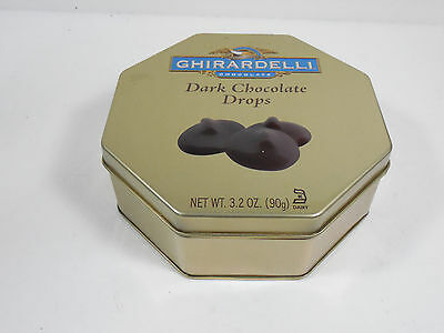 Ghirardelli Dark Chocolate Drops Tin Metal Box Can Canister Decor Kitchen Home