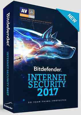NEW VERSION: Bitdefender Internet Security 2017 - 3 Devices - 1 Year