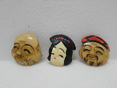 Antique Japanese NOH Theater Mask Charms Lot of 3