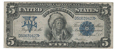 U.S. - Series of 1899 $5.00 Silver Certificate (Indian Chief Note)