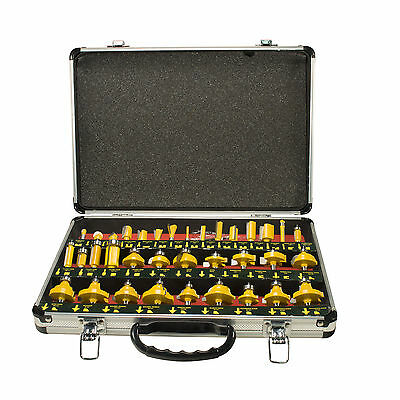 """35 Piece 1/4"""" Shank Router Bit Set With Tungsten Carbide Tips Wood Metal Plastic"""