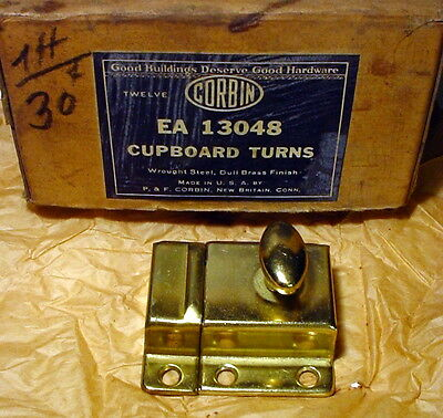 Vintage Cupboard Door Latch w/ Keeper, Screws -- Working Brass-Finish Hardware