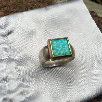 Sterling Silver two tone Opal dress ring