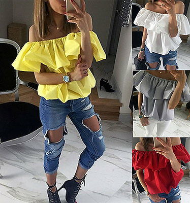 UK Womens Off Shoulder T-Shirt Summer Casual Loose Tops Strapless Party Blouse