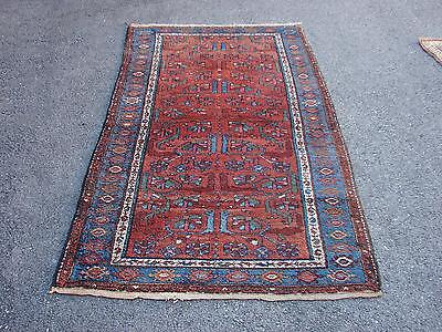 "3'7"" X 6'5"" Antique Persian Tribal Heriz Serapi Kurdish"