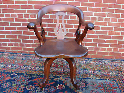 Antique English Revolving Desk Office Chair