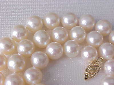 """17"""" 8.5Mm Aaa Genuine Round White  Pearl Necklace Solid 14K Yellow Gold Clasp"""