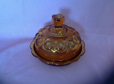 L. E. Smith Glass Amber Moon & Stars Round Covered Butter Cheese Dish   S
