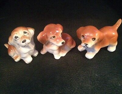 Family of Three Baby Bassett Hound Or Jack Russell Porcelain Dog Puppies  Cute
